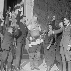Thaddeus Caraway (D-AR) as Santa Claus with Senate Pages, 1923