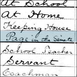 "1880 Census Document Identifying Andrew F. Slade as a ""Page in the Senate"""