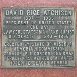 Plaque Affixed to Statue of David Rice Atchison (D-MO), Plattsburg, Missouri