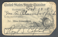 Senate Gallery Pass: 70th Congress