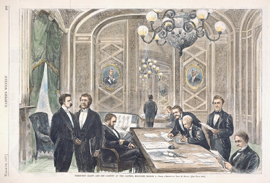 President Grant and His Cabinet at the Capitol, Midnight, March 3.