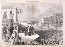 The Inauguration of Ulysses S. Grant as President of the United States, March 4th, 1869—Chief Justice Chase Administering the Oath of Office—The Scene on and near the East Portico of the Capitol, Washington, D. C.