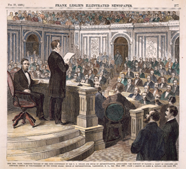 Hon. Ben. Wade, Presiding Officer of the joint convention of the u. s. senate and house of representatives, announcing the election of ulysses s. grant as president and schuyler colfax as vice-president of the united states—house of representatives, washington, d. c., feb. 10th 1869.