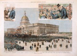 Washington, D. C.—Inauguration of Benjamin Harrison as President of the United States, March 4th—General View of the Eastern Portico of the Capitol During the Inauguration Ceremonies. / the president taking the oath of office. / president harrison reviewing the procession at the white house, after the inauguration.