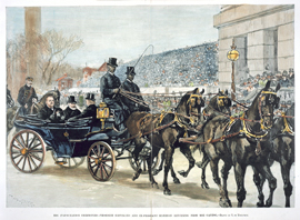 THE INAUGURATION CEREMONIES—PRESIDENT CLEVELAND AND EX-PRESIDENT HARRISON RETURNING FROM THE CAPITOL.