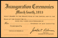 Image: Ticket, 1933 Inauguration Ceremonies (Cat. no. 11.00031.011)
