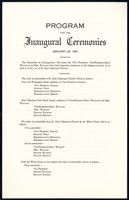 Image of the program for the 1941 Inauguration Ceremonies.
