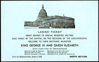 Image: Ticket, 1939 Congressional Welcome of King George VI and Queen Elizabeth, 76th Congress (Cat. no. 11.00040.007)