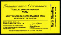 Image of the ticket for the 1997 Presidential Inauguration.