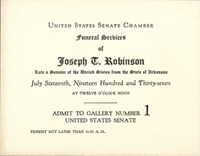 Image: Ticket, 1937 Joseph T. Robinson Funeral (Cat. no. 11.00045.001)