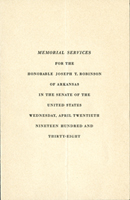 Image: Program, 1937 Joseph T. Robinson Funeral (Cat. no. 11.00045.022)