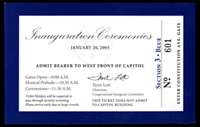 Image of the ticket for the 2005 Presidential Inauguration.