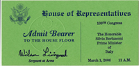 Image: Ticket, Joint Session to Hear the Prime Minister of Italy, 109th Congress(Cat. no. 11.00078.003)