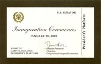 2009 Inauguration Ticket, front