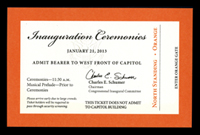 Image of the ticket for the 2013 Presidential Inauguration.