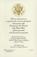 Image of the invitation for the 1993 Presidential Inauguration.