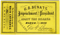 Image: Ticket, 1868 Impeachment Trial, United States Senate Chamber (Cat. no. 16.00060.001)
