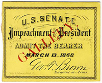 Ticket to Pres. Johnson's Impeachment Trial