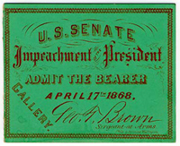 Image: Ticket, 1868 Impeachment Trial, United States Senate Chamber (Cat. no. 16.00075.001)