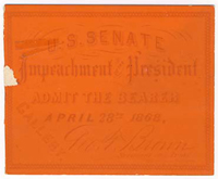 Image: Ticket, 1868 Impeachment Trial, United States Senate Chamber (Cat. no. 16.00078.001)