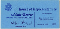 Image: Ticket, Joint Session to Count the Electoral Vote, 109th Congress(Cat. no. 16.00123.000)