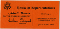 Image: Ticket, Joint Session to Count the Electoral Vote, 105th Congress(Cat. no. 16.00124.000)