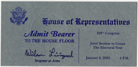 Image: Ticket, Joint Session to Count the Electoral Vote, 109th Congress(Cat. no. 16.00125.000)