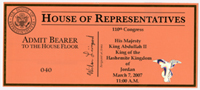 Image: Ticket, Joint Session to Hear the King of the Hasemite Kingdom of Jordan, 110th Congress(Cat. no. 16.00177.000)