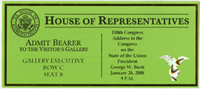 Image: Ticket, Joint Session to Hear the State of the Union Address by the President of the United States, 110th Congress(Cat. no. 16.00210.000)