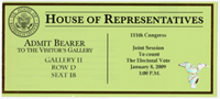 Image: Ticket, Joint Session to Count the Electoral Vote, January 8, 2009(Cat. no. 16.00220.001)