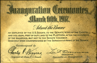 1917 Inauguration Ticket