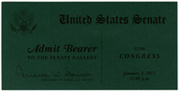 Image: Ticket, Swearing-In Ceremony for New and Returning Senators, 113th Congress(Cat. no. 16.00257.000)
