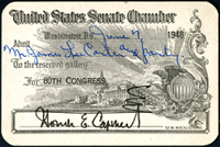 Gallery Pass, Reserved Gallery, United States Senate Chamber, 80th Congress
