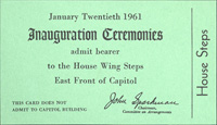 Image of the front of the 1961 Inauguration Ticket
