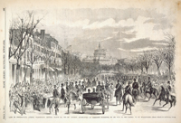 View oN Pennsylvania Avenue, Washington, Monday, March 4th, 1861—Mr. Lincoln, Accompanied by President Buchanan, on his Way to the Capitol to be Inaugurated.