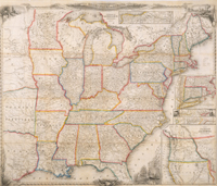 A New Map for Travelers Through the United States of America Showing the Railroads, Canals & Stage Roads.