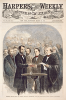 President Lincoln Taking the Oath at His Second Inauguration, March 4, 1865.