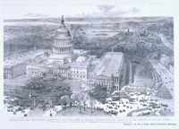 Washington, D. C.—The New National Administration—The Inauguration of President Rutherford B. Hayes, March 5th, 1877—The Ceremony on the East Portico of the Capitol, with Bird's-Eye View of Washington City.