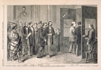 The House Committee, Elected to Manage the Impeachment of the President, Entering the Senate Chamber, Washington, D.C., on the 4th Inst., to Present the Articles of Impeachment.