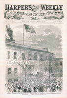 President Lincoln Hoisting the American Flag with Thirty-Four Stars upon Independence Hall, Philadelphia, February 22, 1861.
