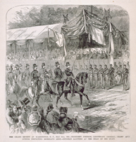 The Grand Review at Washington, D.C., May 24th, 1865—President Johnson, Lieutenant General Grant and Others Inspecting Sherman's Army—Sherman Saluting at the Head of His Staff.