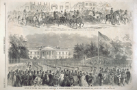 Arrival of Horses at Washington for the Army. / Review of the New York Troops at washington, by General Sandford, in Presence of the President and the Cabinet, July 4, 1861.