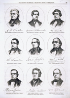 (left to right, top) Butler, Andrew P.  Seward, William H.  Brooke, Walker  (center) Hamlin, Hannibal  Cooper, James  Felch, Alpheus  (bottom) Charlton, Robert M.  Morton, Jackson  Upham, William