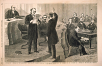 Swearing in a Witness at the Impeachment Trial—Colonel Forney, Secretary of the Senate, Administering the Oath to Gen. W. H. Emory, As a Witness of the Managers, Thursday, 2nd Inst.