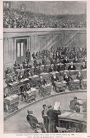 president mckinley's message being read in the senate, march 25, 1898 / The Spanish-American Crisis