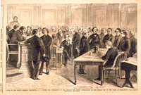Scene in the Senate Chamber, Washington, D. C., during the Withdrawal of the Senators for Secret Consultation, on the Opening Day of the Court of Impeachment.