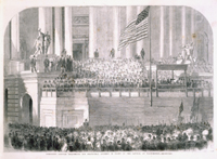 President Lincoln Delivering His Inaugural Address in Front of the Capitol at Washington.