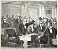 The Impeachment Trial, Washington, D. C.—The Order to Clear the Galleries, May 6th, 1868—Senator Trumbull Moving for the Arrest of the Disorderly Spectators.