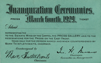 Image of front of the 1929 Inauguration Ticket