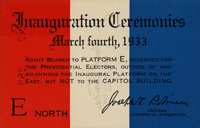 Image of the 1933 Inauguration Ticket